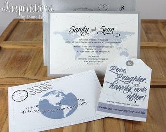 Travel Map Wedding Invitations