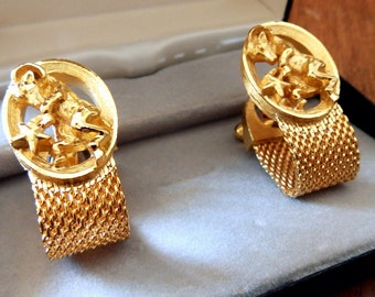 "1960's ""Aries"" Gold-Tone Swank Cuff Links--Ram/Star Pattern--Wrap-Around Design-Like-New Condition--Original Box"