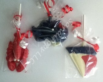24 Red White and Blue Nautical Anchor Lollipop Party Favors