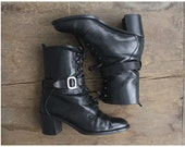 black leather boots / harness boots / ankle boots 7