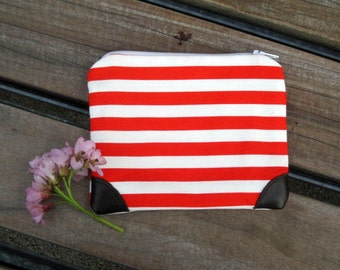 Creamsicle Stripes Pouch- Orange and White Striped Pouch with Leather Accents