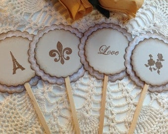 Cupcake Toppers Wedding / Wedding Shower / Love / French / Fleur de lis