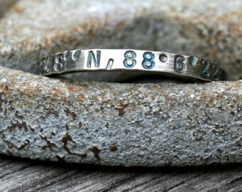 Personalized Sterling Silver Ring - Latitude Longitude Custom Coordinates Memento Thin Band