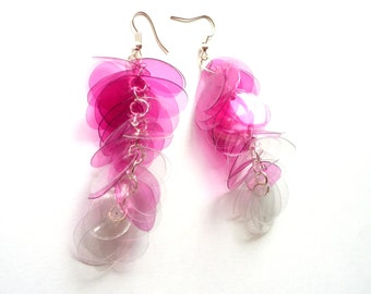 SALE Pink ombre earrings made of plastic bottles very long earrings upcycled jewelry fuchsia earrings recycled jewelry long pink earrings