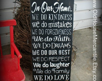 In Our Home -- Painted Wooden Typography Art Sign