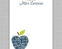 Teacher Notepad - Navy Floral, Geometric and Tribal Apples - Assorted Colors - Personalized Custom Notepads - Teacher Gift - Larissa.