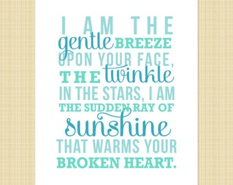 I am the gentle breeze memorial print - BLUE 5x7 - (miscarriage, stillborn, infant, child loss) INSTANT DOWNLOAD