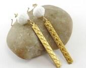 Diamond Etched Brass Pendant Drop Earrings, White Glass Beads, 14K Gold Filled Hand Forged Ear Wires, Art Deco Earrings, Dangle Earrings