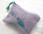 Hand embroidered purse - hand dyed wool pouch - embroidered dragonfly purse - zipped pouch - lavender wool purse - free embroidered purse