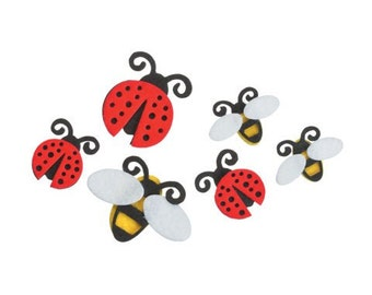 18 Ladybug and Bee Feltie Stickers