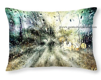 "20"" x 14"" Home Decor or Travel Pillow, Rectangle Pillow Fine Art Photography Rainy Nights  Surreal Home Decor"