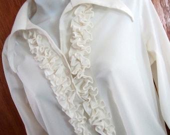 White Ruffled Blouse Long Sleeve Vintage 1960s - size S or M - Womens Clothing Secretary Blouse