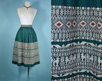 "Vintage 50s Ethnic Hippie Bohemian Chic Gypsy Guatemalan Woven Skirt/Green Cream Guatemalan Pattern Hipster Skirt  26"" Waist S"