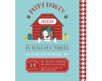 Puppy Party Invitations, Puppy Pawty Birthday, Dog Party Invitation, Dog Birthday Invite, Printed or Printable