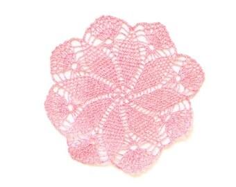 Pink melange Crochet Doily Vintage lacy doily