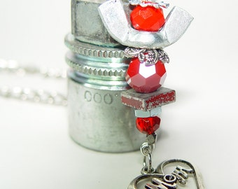 ROAD ANGEL - Blood Red & Silver Upcycled Wing Nut Rear View Mirror Angel with MOM Heart charm