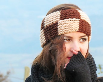 Latte Brown Plaid Headband, Knitted Square Design Ear Warmer, Best Knits, Chunky Cozy Ear Warmer, Hair Coverings for Women head wrap, Teens
