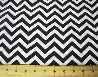 Full Yard -  Black and White Zig Zag Chevron Fabric By The Yard - One Yard Cut Black Chevron Half Inch Chevron Cotton Fabric