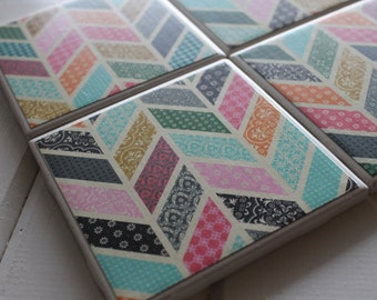 Modern Quilted Chevron Four Piece Ceramic Tile Coaster Set