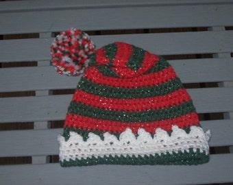 Red,Green,White,Pom Pom,Hat, Toddler,Baby,Boys,Girls,Phot Prop,Gift,Children,Crocheted,Christmas,Holidays