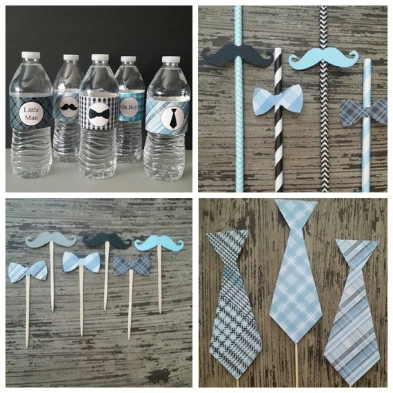 Little Man Baby Shower Birthday ~ Tie Name Banner ~ Water Bottle Wrappers ~ Food Tents ~ Cupcake Toppers ~ Straws & Toppers