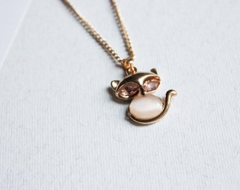 Tiny fox necklace Foxy lady necklace Small pendant with pale pink stone delicate jewelry