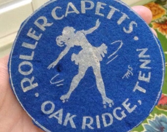 Vintage Felt Roller Skating Patch - Roller Capetts - Oak Ridge, Tenn - Roller Derby Collectible