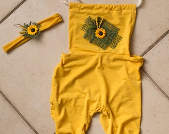 6-12 month romper, sunflower baby photo prop, yellow little sitter photography outfit, upcycled romper