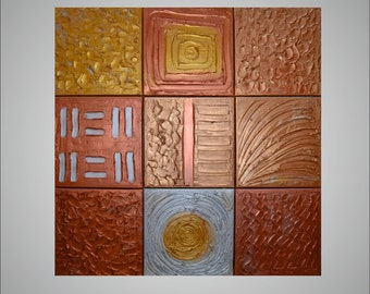 "Original Modern Abstract Painting Heavy Texture Impasto Acrylic Painting gold, bronze, copper, by Carola, 9 piece 12""x12"""