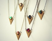triangle opal necklace, geometric necklace, triangle jewelry, opal necklace, turquoise necklace,