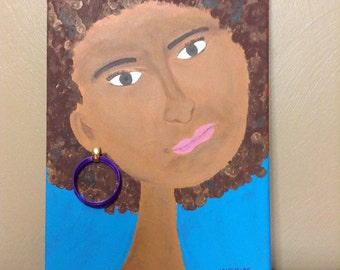 Original Canvas Art - Black Woman with natural hair afro purple earring