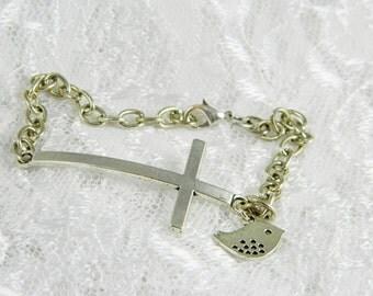 Cross Bracelet, Cross, Sideways Cross, Side Cross, Antique Silver,, Bird,