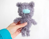 Small Crochet toy Grey Curly Bear soft stuffed animal for kids