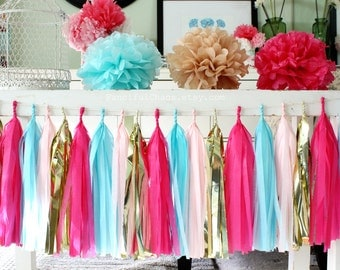 Aqua, Hot Pink, Light Pink, Gold Tissue Paper Tassel Garland- Wedding, Birthday, Bridal Shower, Baby Shower, Party Decorations