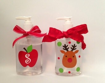Adorable reindeer or apple with initial hand sanitizer