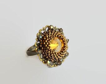 Bronze delicate filigree golden shadow Swarovski adjustable ring