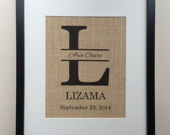"""Personalized New Baby Gift - Birth Announcement - Burlap Wall Art 8"""" x 10"""" - 11"""" x 14"""" Monogram, Name, Birth Date"""