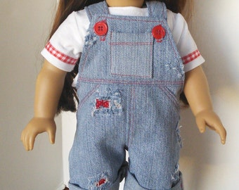 "American Girl 18"" or 15"" Doll Clothes - Denim Overall Shorts also fit Bitty Twins Bitty Baby"