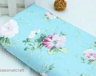 Aqua Blue Fabric Pink Flower Fabric,Shabby Chic Flower Fabric,Aqua Polka Cotton,Pink Floral Cotton Fabric 1/2 Yard(QT400)