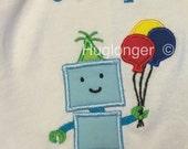 Robot Applique digital embroidery files birthday applique