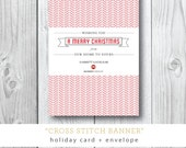 Cross Stitch Banner | Holiday Christmas Card | Printed or Printable by DarbyCards