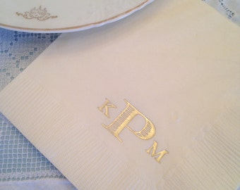 Set of 100 Monogrammed Napkins | Wedding or Personalized Home Gift | Darby Cards