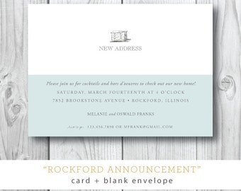 Rockford Printed Moving Annoucements | Moving or Open House or Trunk Show Party | Printable or Printed by Darby Cards