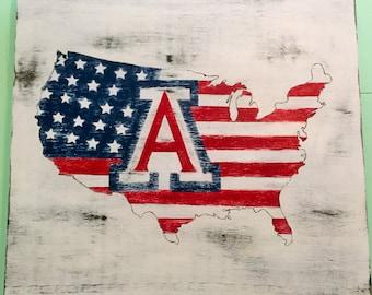 University of Arizona Patriotic United States- Wooden Sign