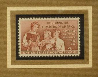 Vintage Framed Postage Stamp - Honoring Teachers -  No. 1093, Version 2
