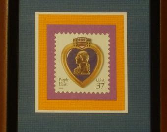 Framed Postage Stamp - Purple Heart - No. 3784