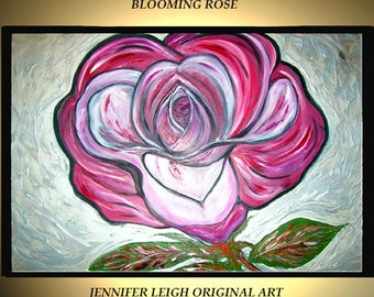Large Abstract Painting Original Acrylic Painting Canvas Art Red Pink Silver White Rose Flower 36x24 Palette Knife Texture Oil J.LEIGH