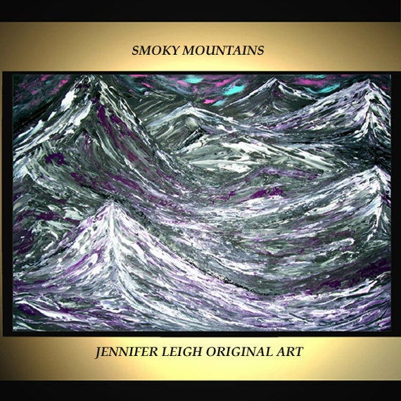"Original Large Abstract Painting Modern Acrylic Oil Painting Canvas Art  Black White Purple Mountains  36x24"" Palette Knife Texture  J.LEIGH"