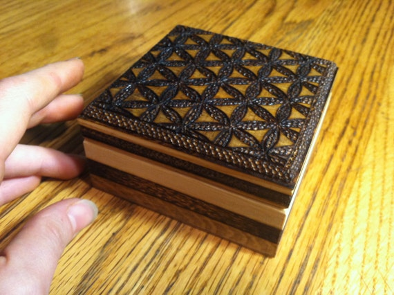 Flower of Life Pattern Wood Burned Wooden Box