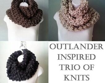 Trio of Outlander Inspired knits PDF knitting pattern download - beginner level